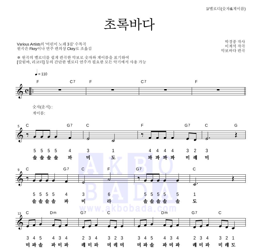 동요 - 초록바다 멜로디-숫자&계이름 악보