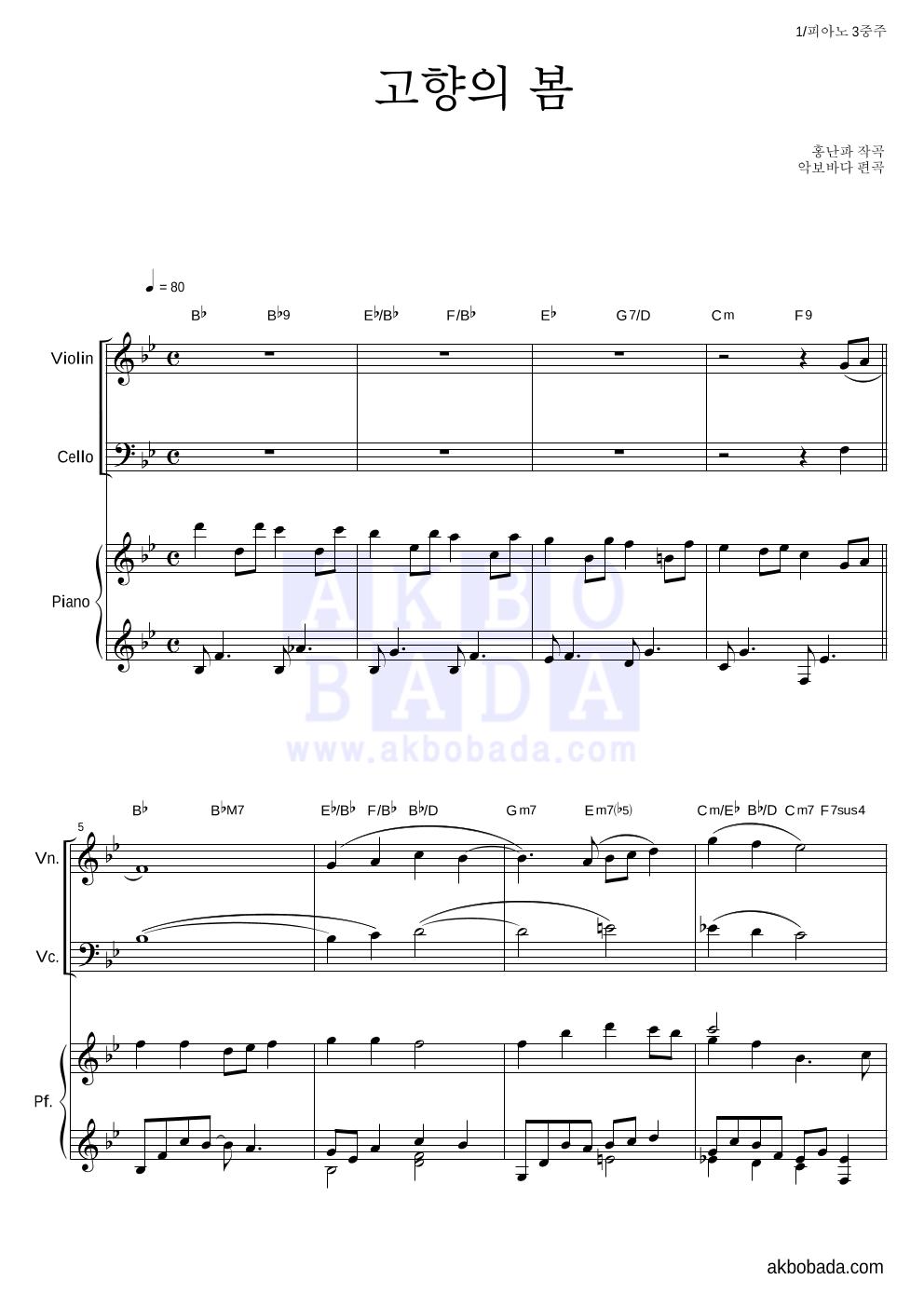 동요 - 고향의 봄 피아노3중주 악보