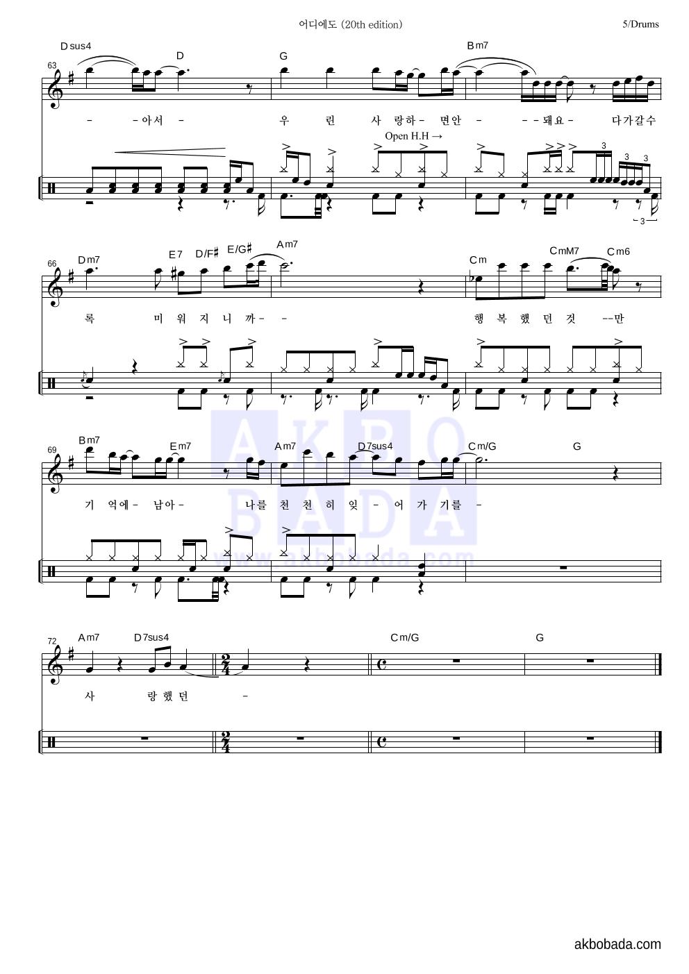 엠씨더맥스 - 어디에도 (20th edition) 드럼 악보
