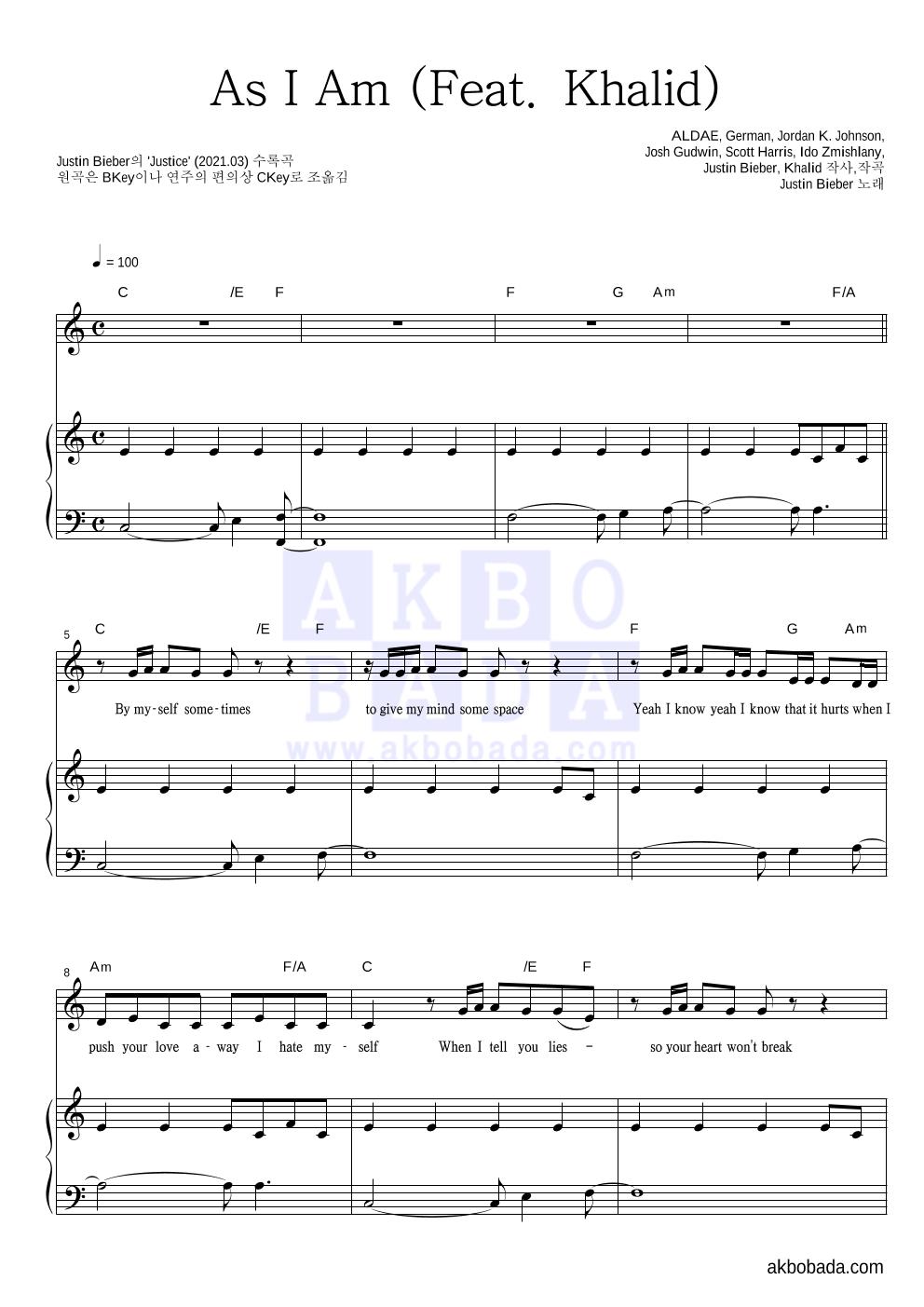 Justin Bieber - As I Am (Feat. Khalid) 피아노 3단 악보