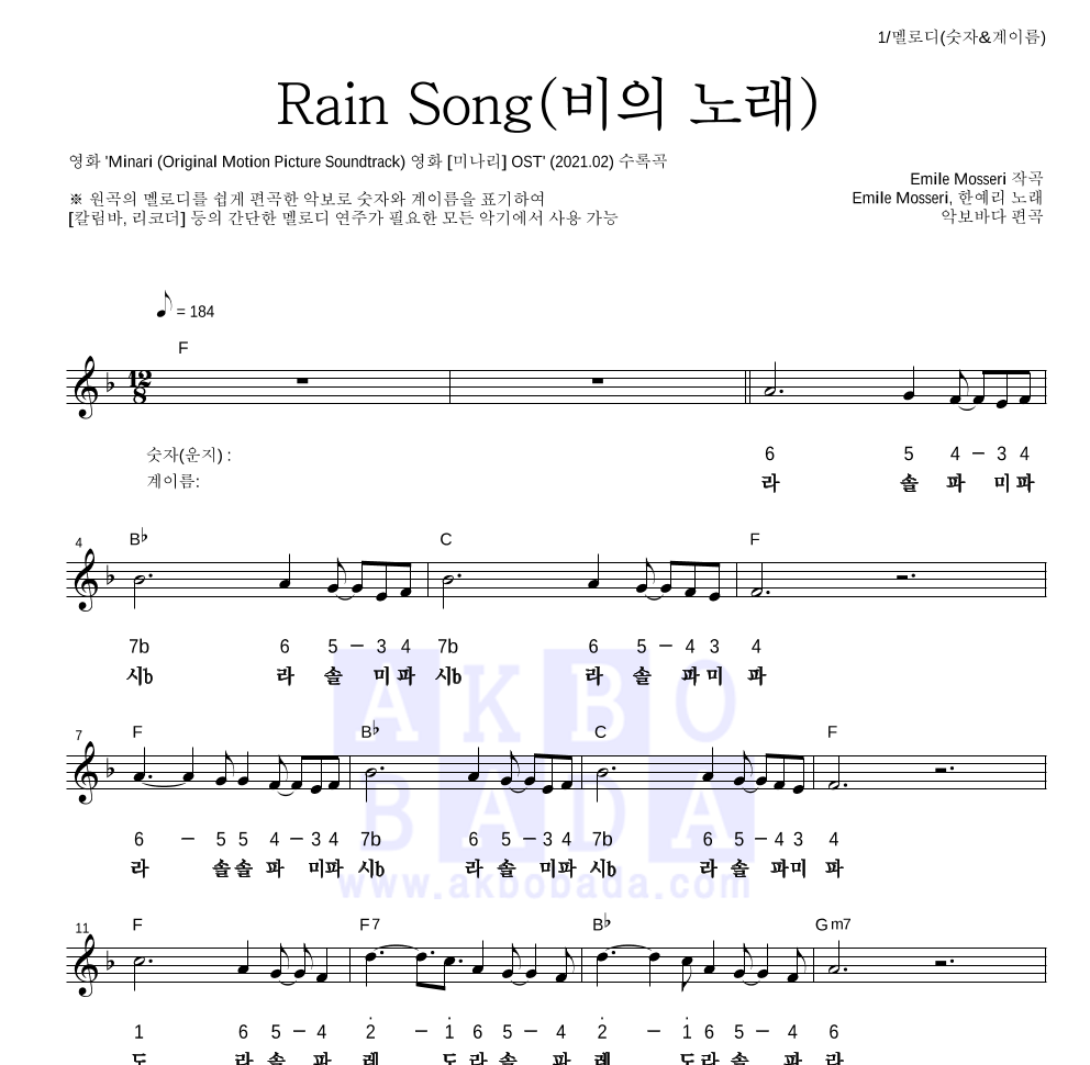 Emile Mosseri,한예리 - Rain Song(비의 노래) 멜로디-숫자&계이름 악보