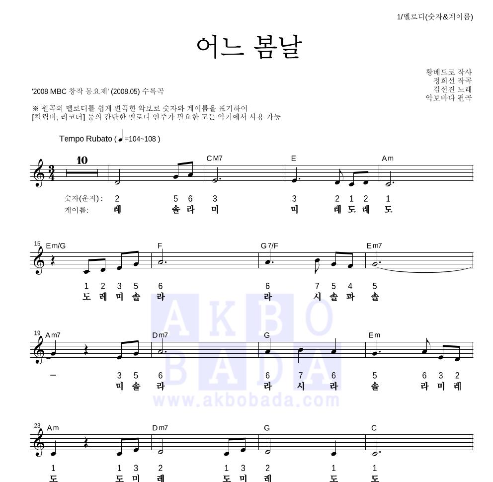 동요 - 어느 봄날 멜로디-숫자&계이름 악보