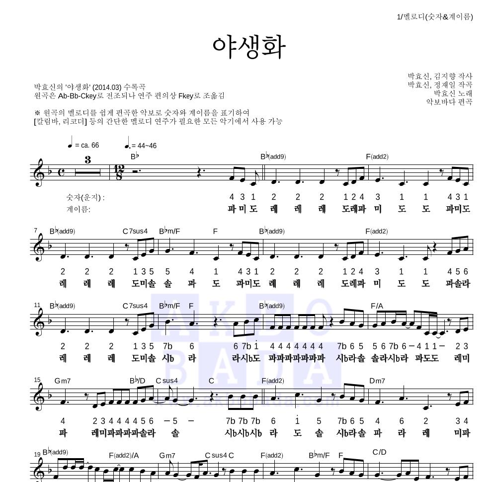 박효신 - 야생화 멜로디-숫자&계이름 악보