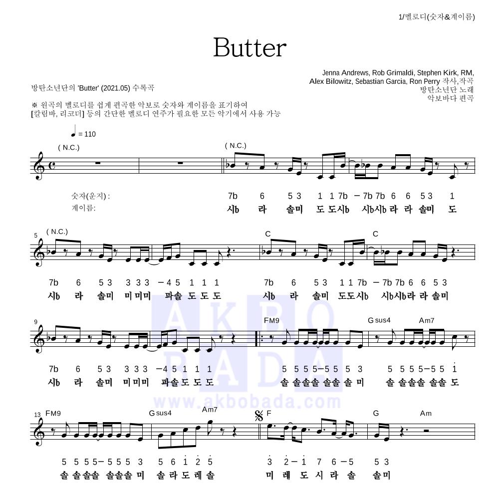 방탄소년단 - Butter 멜로디-숫자&계이름 악보