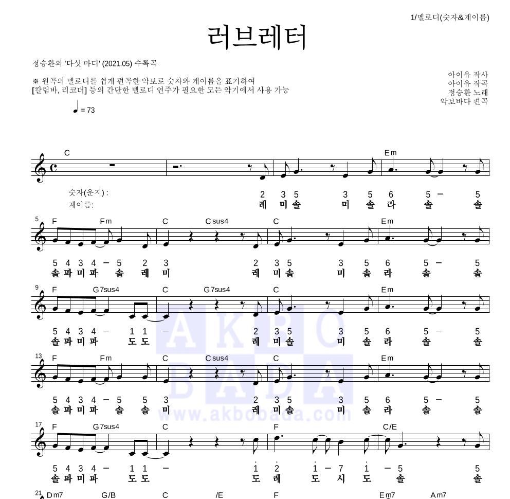 정승환 - 러브레터 멜로디-숫자&계이름 악보