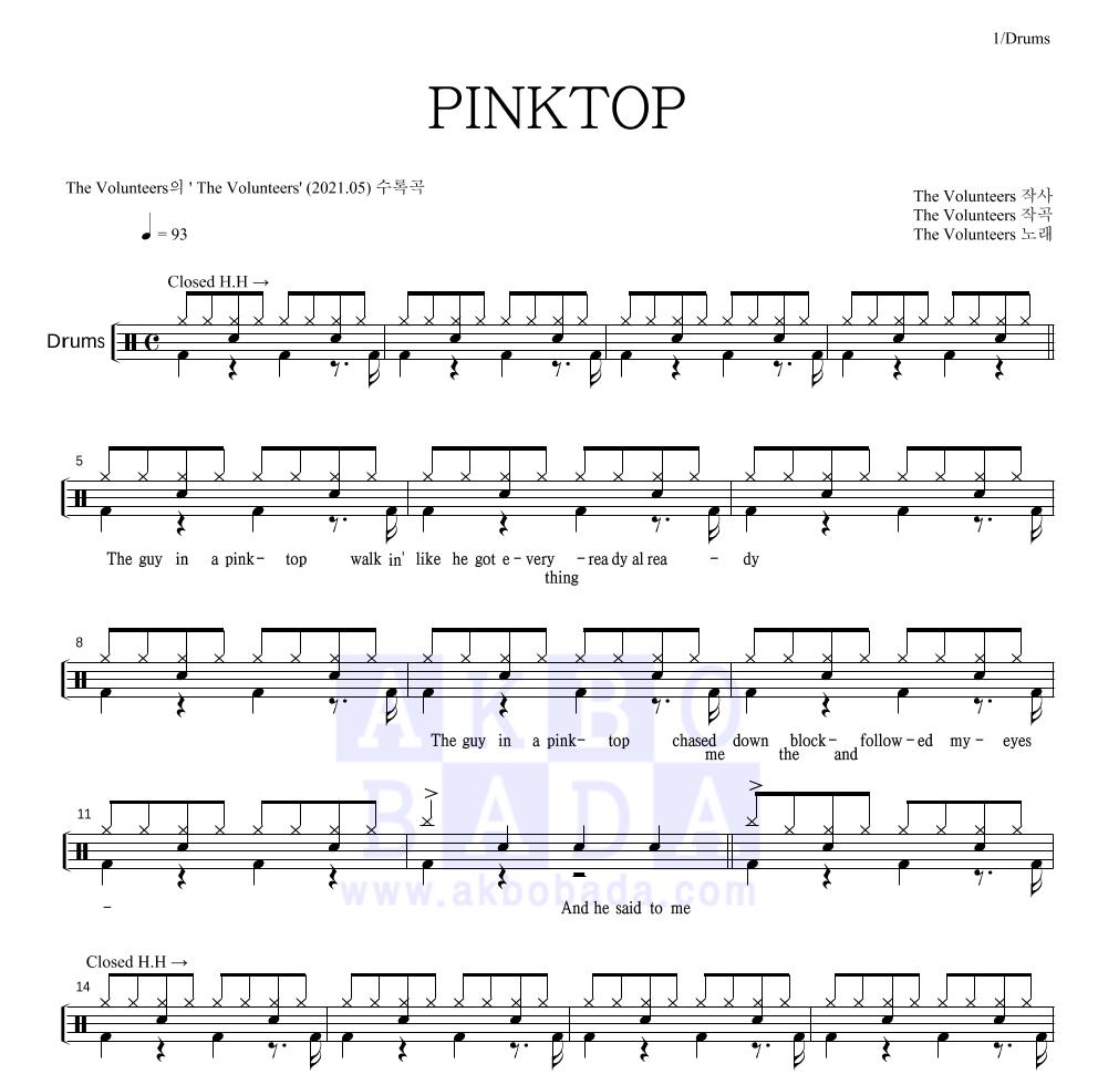 The Volunteers - PINKTOP 드럼 1단 악보