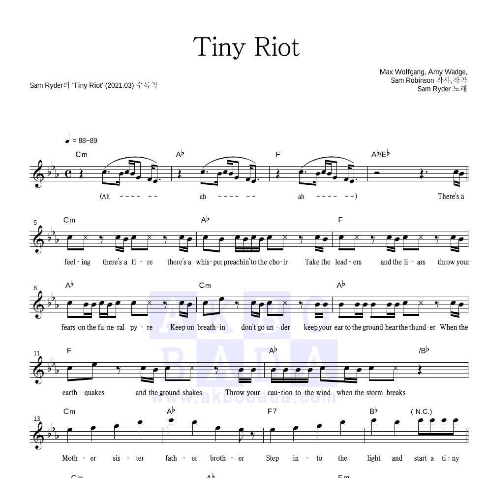Sam Ryder - Tiny Riot 멜로디 악보