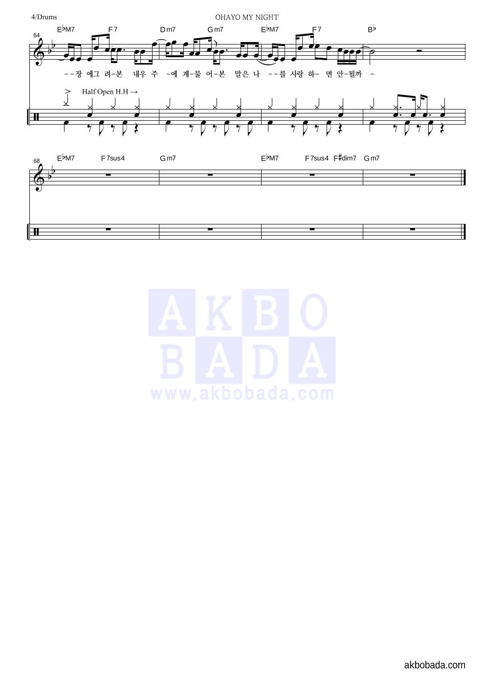 디핵,파테코 - OHAYO MY NIGHT 드럼 악보