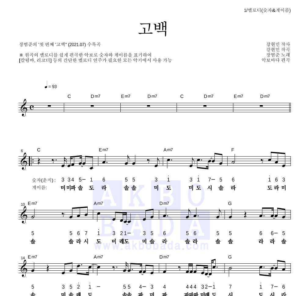 장범준 - 고백 멜로디-숫자&계이름 악보