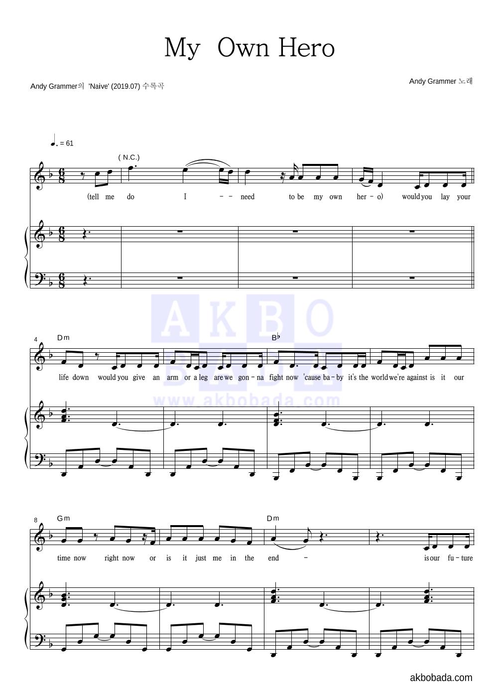 Andy Grammer - My  Own Hero 피아노 3단 악보