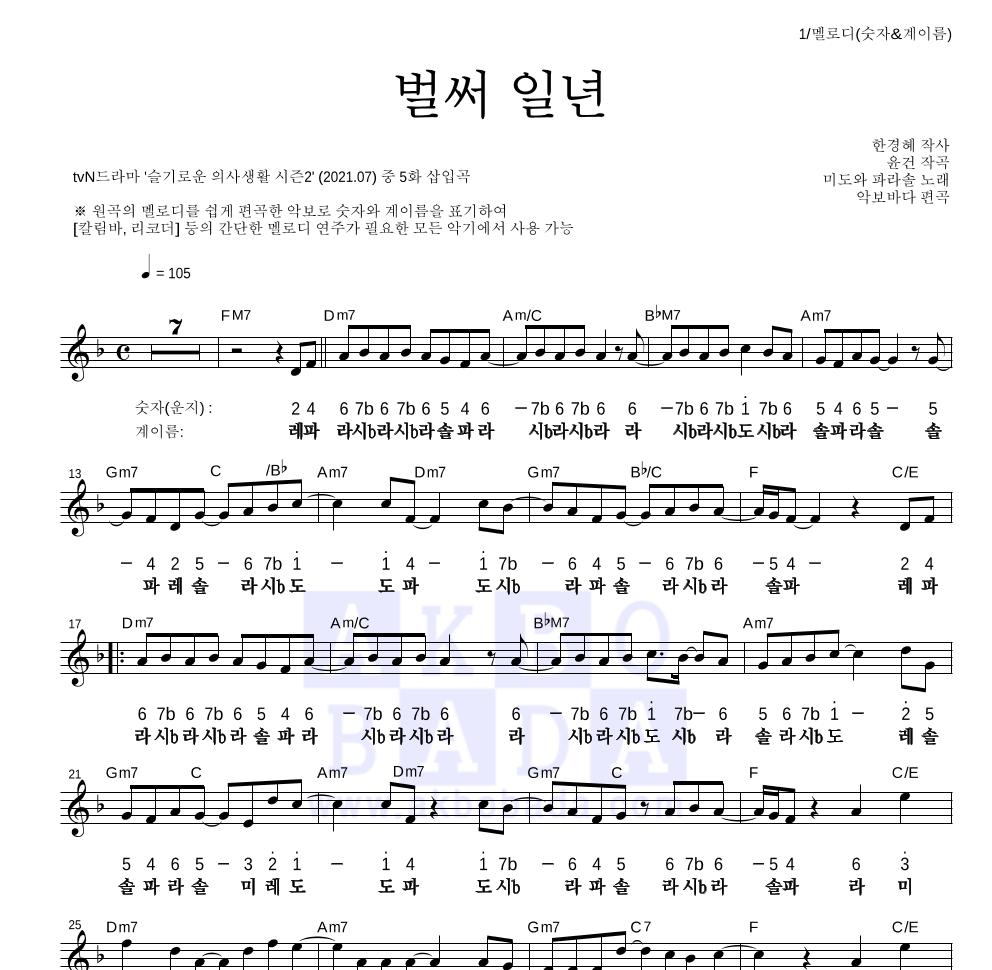 미도와 파라솔 - 벌써 일년 (Drama Ver.) 멜로디-숫자&계이름 악보