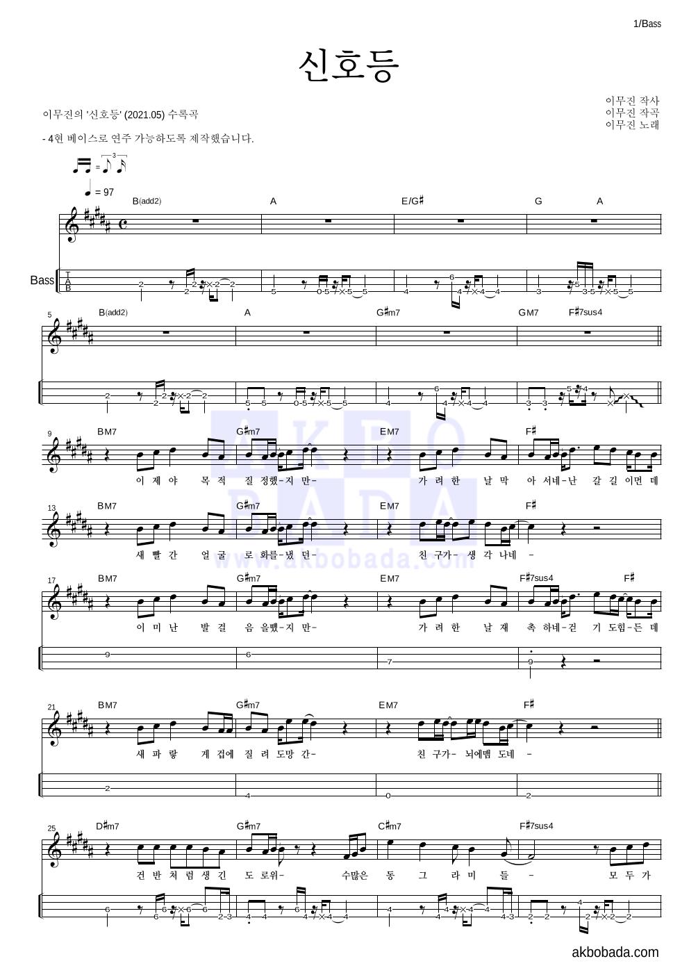베이스(Tab) 악보