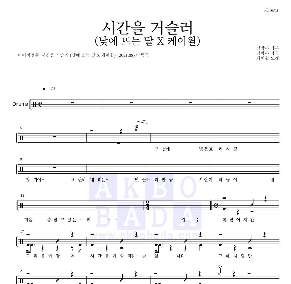 케이윌 - 시간을 거슬러 (낮에 뜨는 달 X 케이윌) 드럼(Tab) 악보