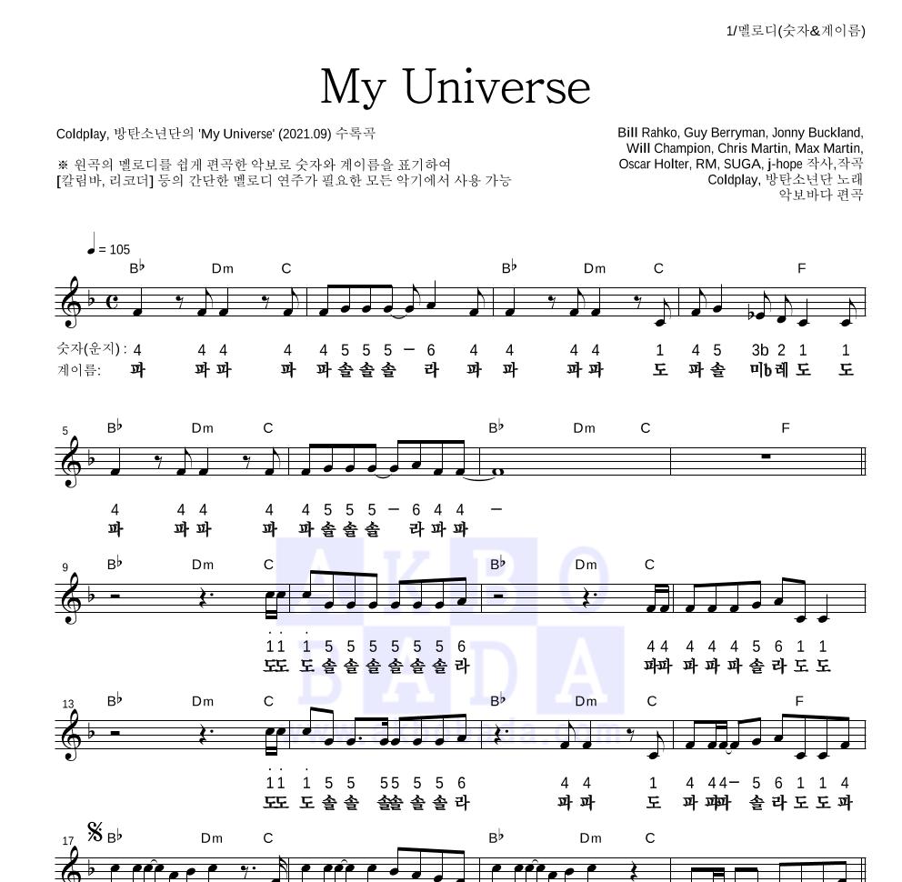 Coldplay,방탄소년단 - My Universe 멜로디-숫자&계이름 악보