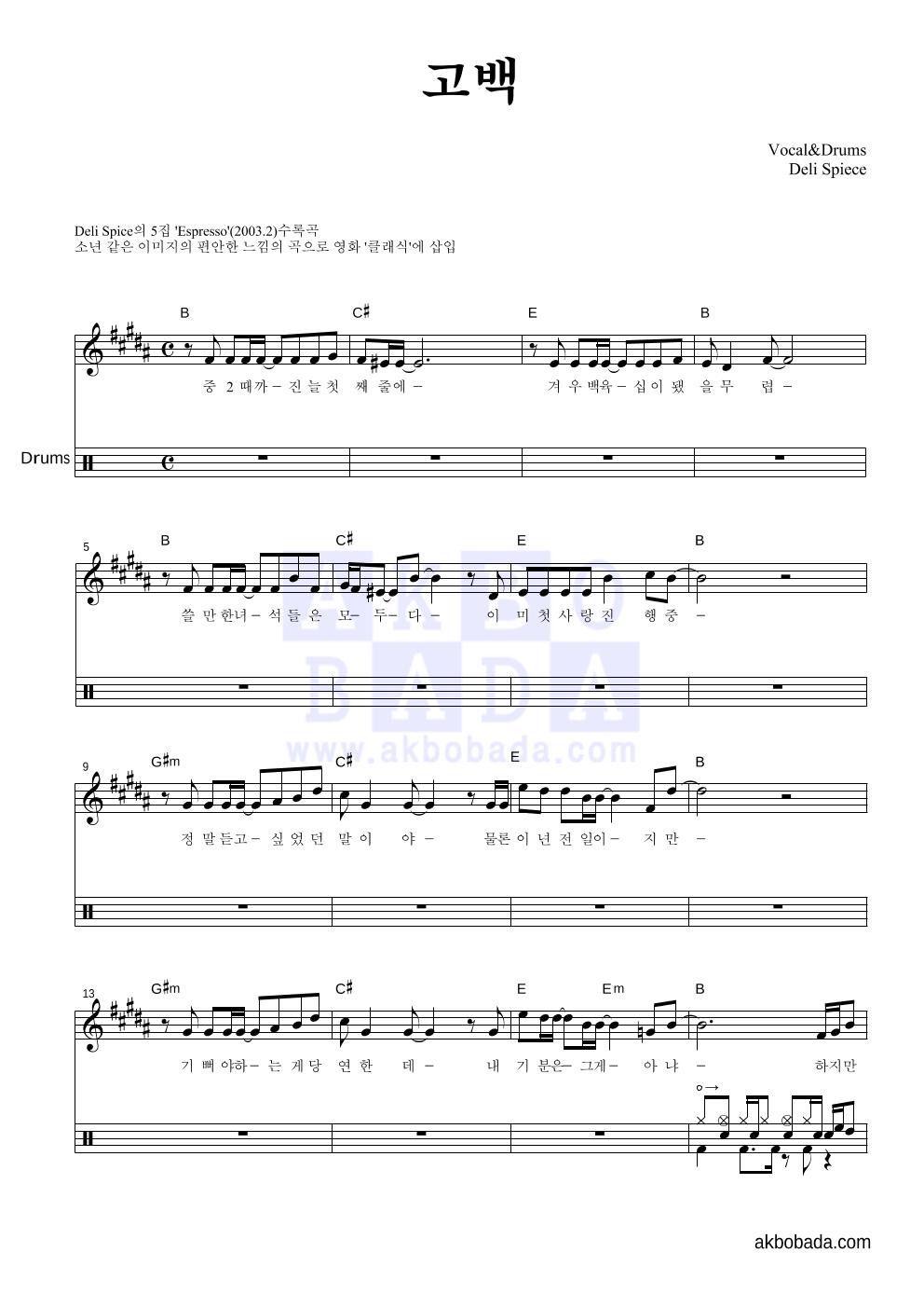 델리 스파이스 - 고백 드럼 악보