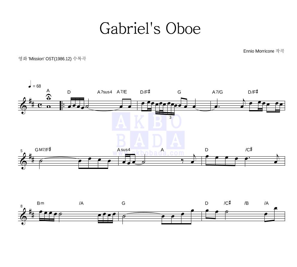 Ennio Morricone - Gabriel's Oboe 멜로디 악보