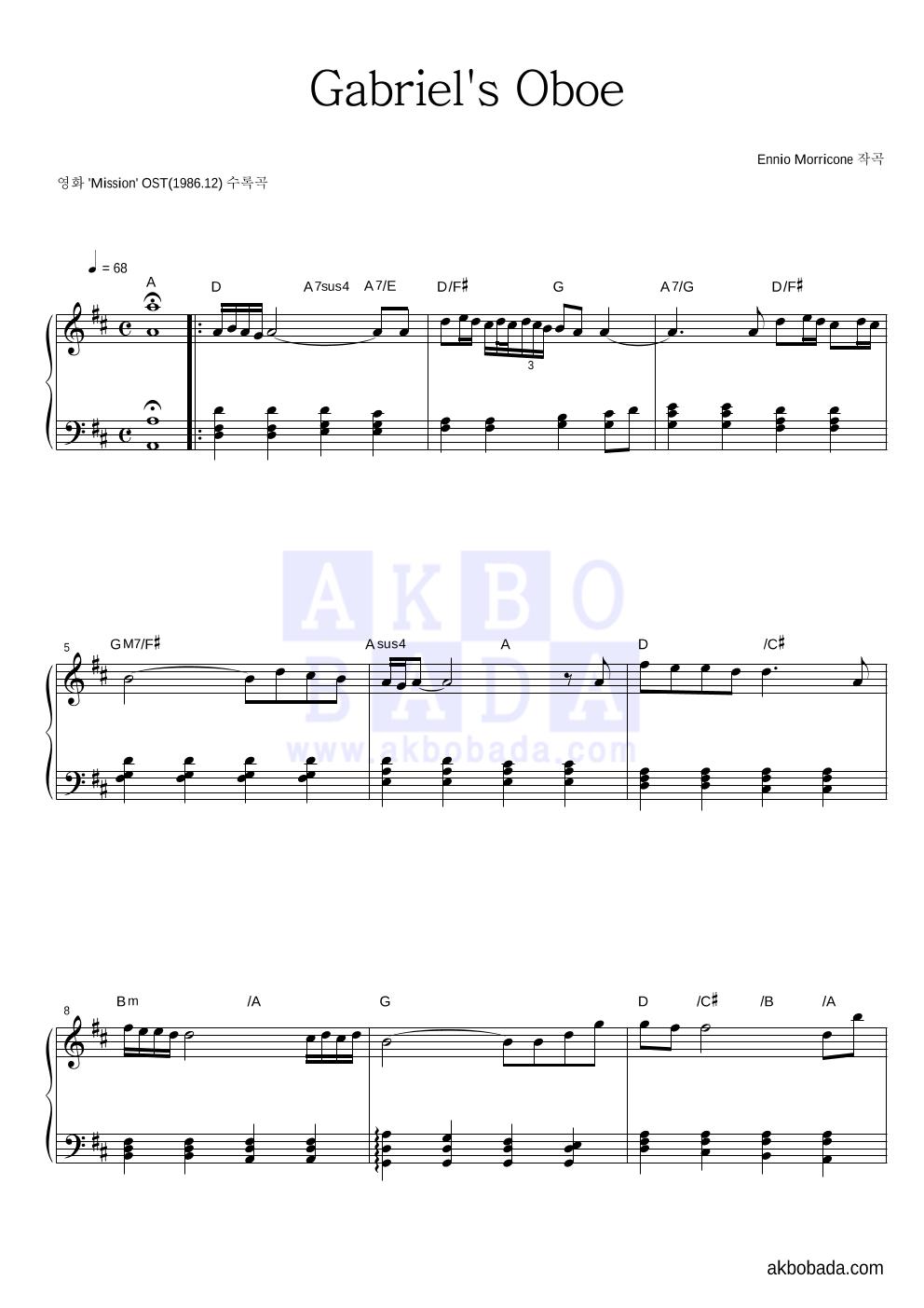Ennio Morricone - Gabriel's Oboe 피아노 2단 악보