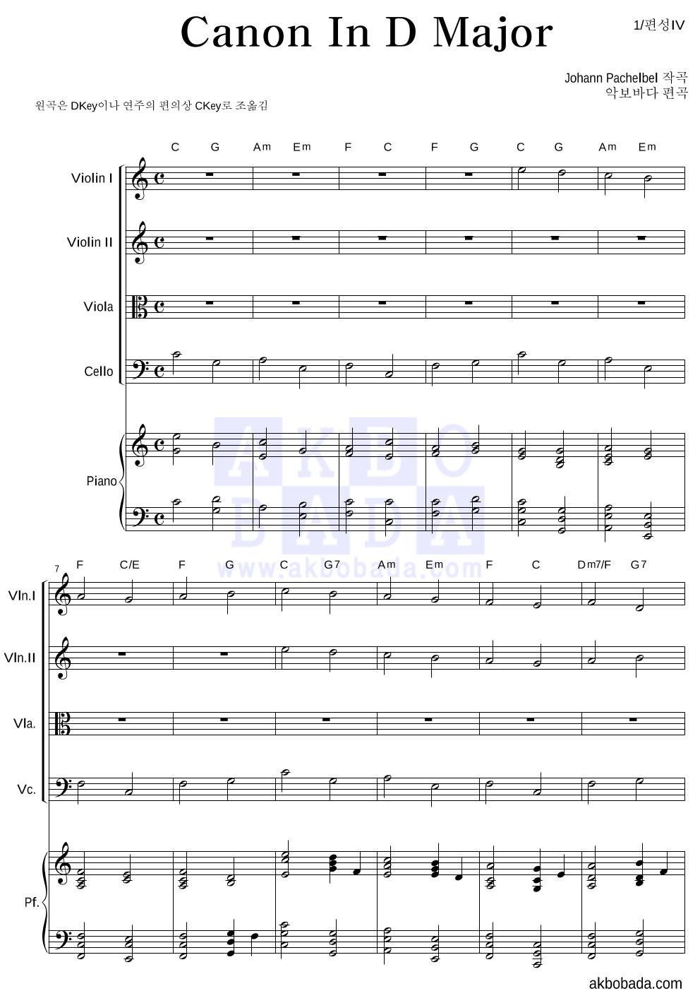 파헬벨 - Canon In D major  악보