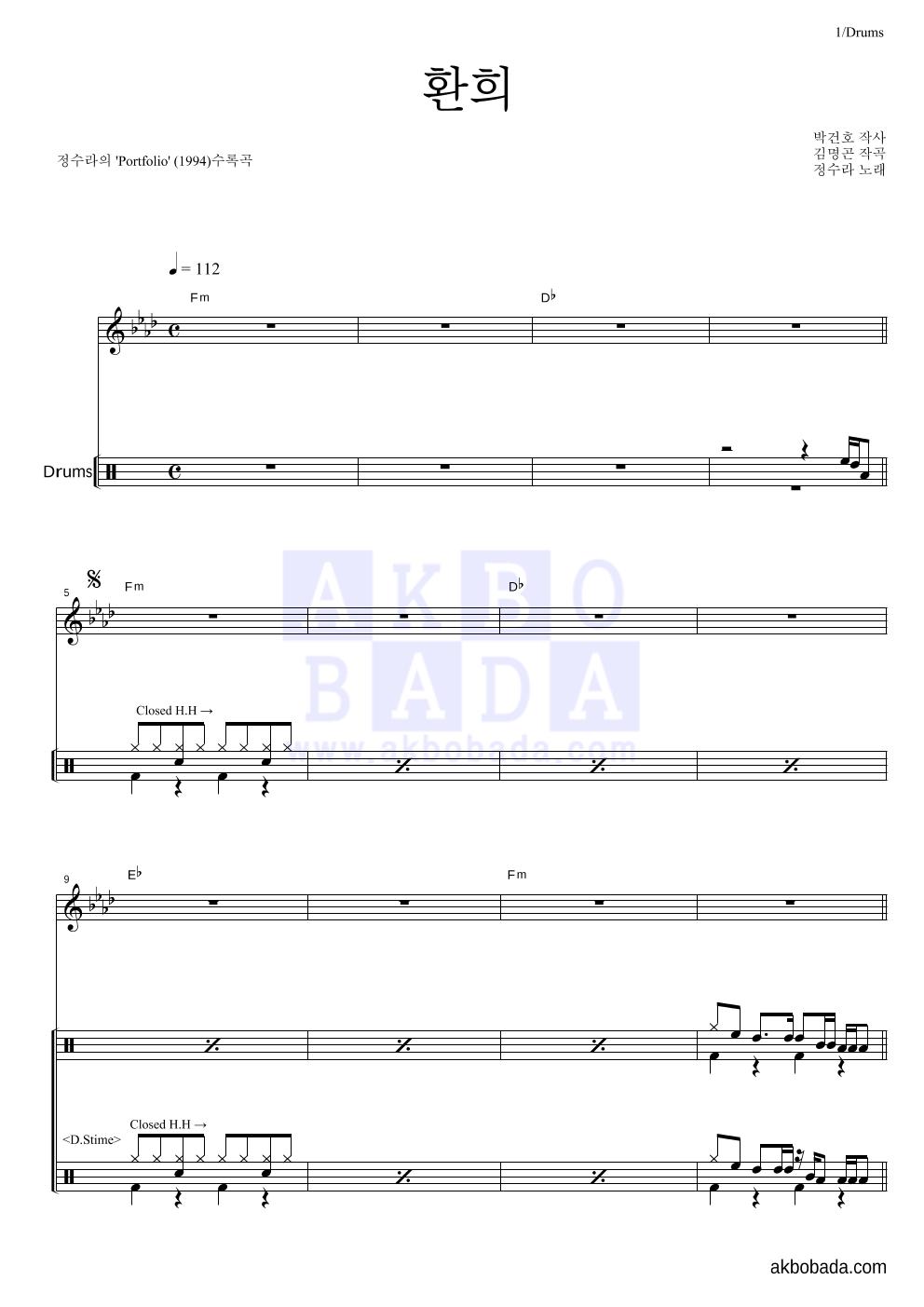 정수라 - 환희 드럼 악보