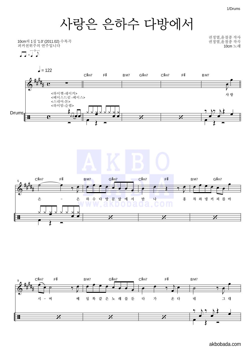 10CM - 사랑은 은하수 다방에서 드럼 악보