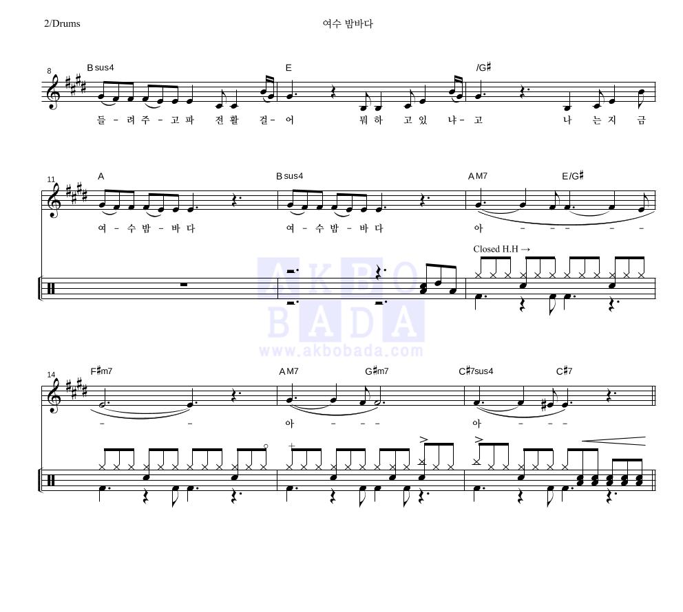 버스커 버스커 - 여수 밤바다 드럼 악보
